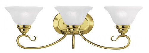 2 Polished Brass Vanities (Three Light Polished Brass Vanity 6103-02)