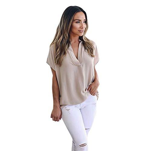 (WOCACHI Womens Blouses Chiffon Solid T-Shirt Office Ladies Plain Roll Sleeve Tops Shirt Lapel Shift 2019 Summer Under 5 Dollars Deals)