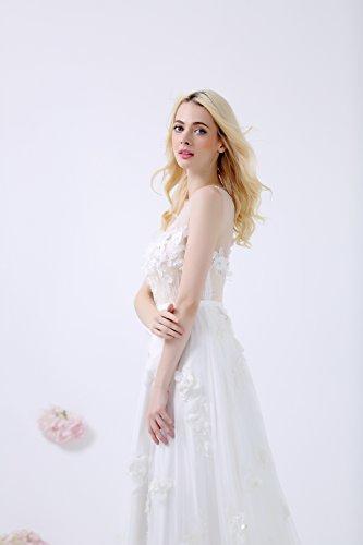 Lactraum Design WD15403 Frisches Brautkleid mit Tüllblümchen Pailletten Schleppe Maßanfertigung