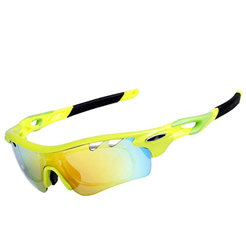 Colorful sea Polarized Bicycle Eyewear Outdoor Sport Cycling Sunglasses UV400 MTB Glasses Riding Bike Goggle,Yellow (Sonnenbrille Polycarbonat)