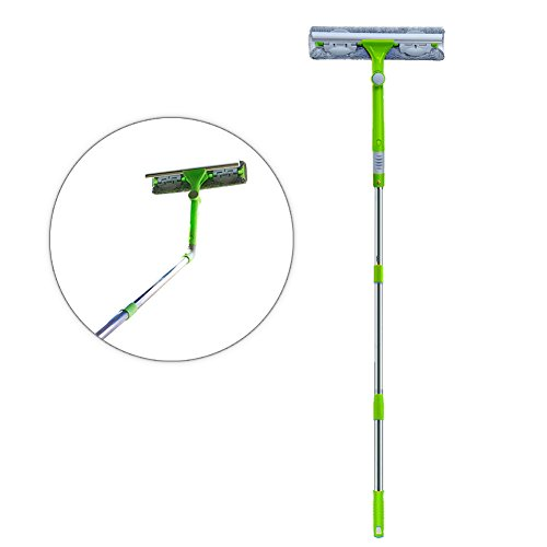 IKU Long Window Cleaner Kit Glass Squeegee Cleaning Tool with 180° Squeegee Head, Extension Pole, Microfiber Cloth(2), Groove Brush for Indoor & Outdoor Windows/Shower/Car (Green)
