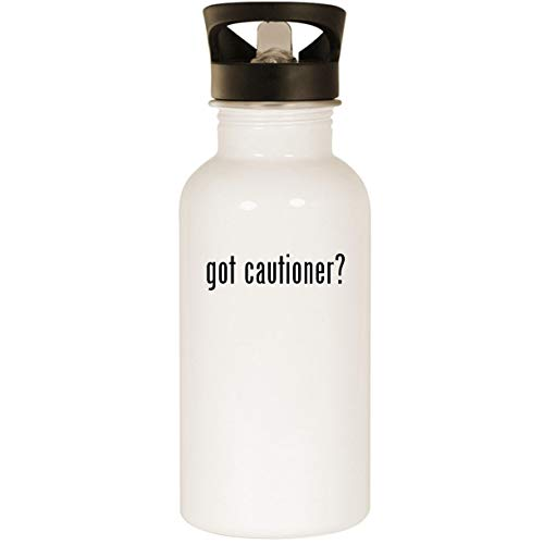got cautioner? - Stainless Steel 20oz Road Ready Water Bottle, White]()