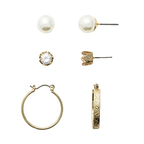 Hooop Earrings (Neoglory Jewelry for Sensitive Ears Fine Gold Color Plated Pearl, Cubic Zirconia CZ, and Hooop Trio Earring Set)