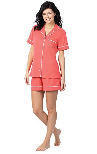 PajamaGram Womens Pajama Sets Shorts - Two Piece PJs Women, Coral, X-Large (18)