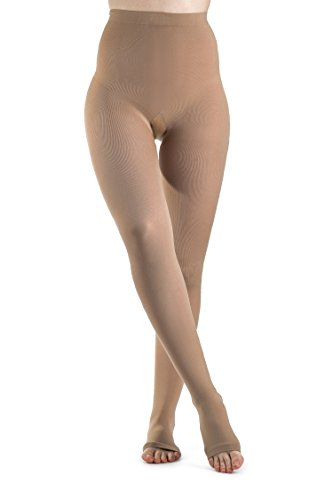 SIGVARIS Women's Soft Opaque 840 Open Toe Compression Pantyhose (Soft Compression Pantyhose Short)