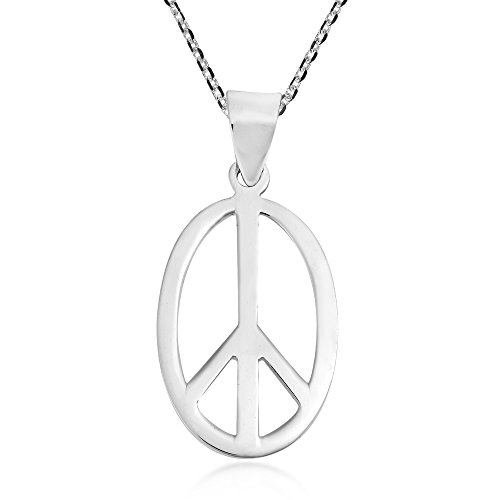 AeraVida Modern Oval Peace Sign Love not War .925 Sterling Silver Pendant ()
