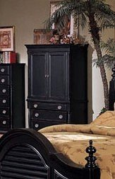 Heritage Collection Traditional Style Black Finish TV Armoire
