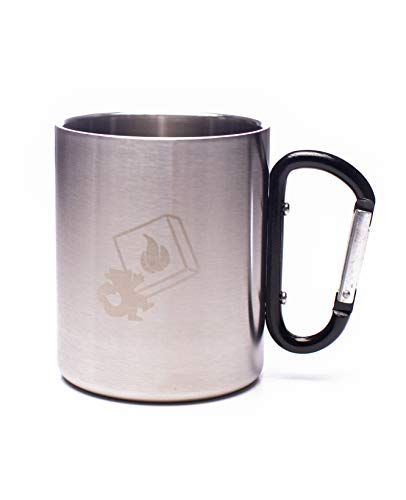 DragonEra Products Black Carabiner Handle Stainless Steel Mug