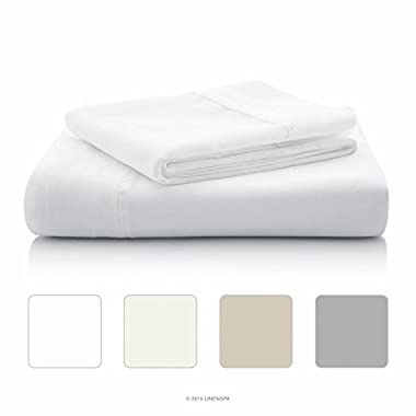 LINENSPA 800 Thread Count Cotton Blend Wrinkle Resistant Sheet Set - White - Queen Size