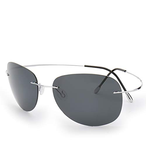 Qi Song Ultra-light Flexible Pure Titanium Rimless Polarized Sunglasses ()