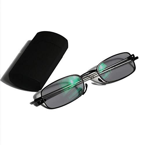 con bolsillo mini Custom Plegable lectura gafas plegable sol transición hipermetropía RX RX fotocromáticos UV400 miopía de lector fuerza anteojos estuche de optico de 5ppwa