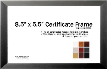 8.5'' x 5.5'' Certificate Frame - Wood Frame - Holds any document measuring 8.5'' x 5.5'' inches (Charcoal) by The Simple Things