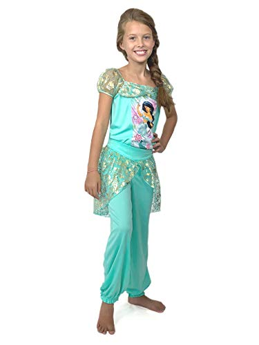 Disney Princess Jasmine Girls Fantasy Pajamas (8, Jasmine Teal)