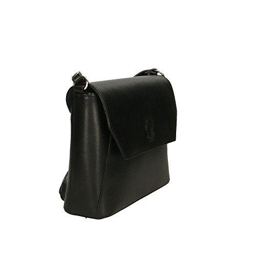 genuino hombro cuero Italy bolsa de en in Negro Made Aren 28x18x7 Mujer Cm fYAwX