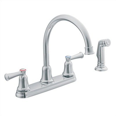 Capstone Two Handle Kitchen Faucet with Side Spray Finish: Chrome