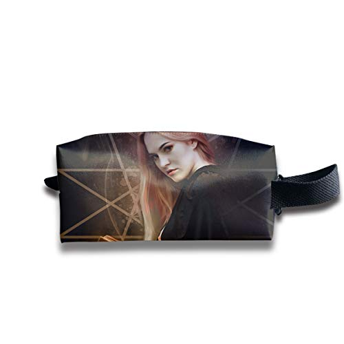 A Glamorous Witch Holding A Magic Book for Halloween Multi-Function Key Purse Coin Cash Pencil Travel Makeup Toiletry Bag Box Case