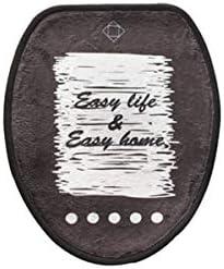 CQIANG トイレの浴槽の敷物、コンターマット、ほとんどのトイレに適し、柔らかくて暖かい、費用対効果の高い、黒 (Size : 13.6*16.8 inch(toilet lid))