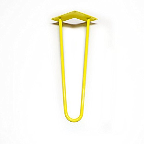 Colored Hairpin Legs for Tables, Desks, Dressers, Buffets, Consoles & More - 2 Rod Design - MADE in the USA - Each Leg Sold Separately ( 4'' Height x 1/2'' Diameter, Yellow)