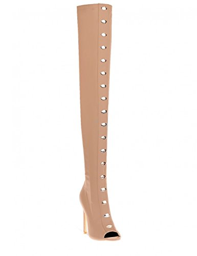 LAMODA Womens Diamante Stud Detail Thigh High Boots in Faux Suede Nude 7mILuu