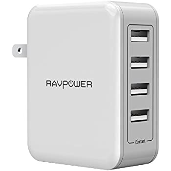 USB Wall Charger RAVPower 40W 8A 4 Port Travel Charger Charging Station for Smartphone, iPhone, iPad, Android, Tablet, Portable Charger and More
