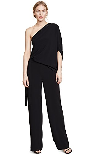 Halston Heritage Women's Asymmetrical Sleeve Wide Leg Jumpsuit Tie, Black, 4