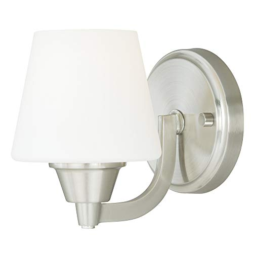 Vaxcel W0097 Calais 1-Light Vanity Light, Satin Nickel