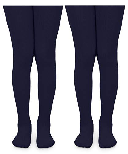 Jefferies Socks Girls School Uniform Cable and Rib Tight 2 Pack (6-8 Years, Navy Cable Knit)