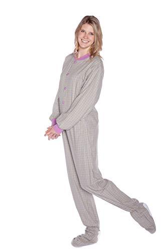 - Big Feet Pjs Green & Purple Plaid Flannel Adult Footed Pajamas No Drop-seat Onesie