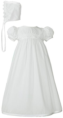 White Polycotton Christening Baptism Gown with Lace Trim & Bonnet, 03
