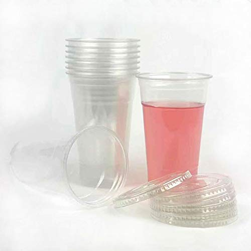 50sets 24oz. Plastic Ultra Clear Cups with flat lids is for cold drinks like iced coffee, Bubble Tea, Frozen Cocktails, water , Sosa and jucies
