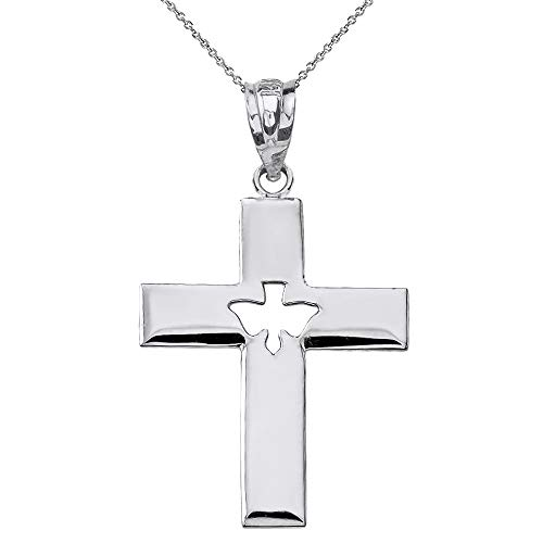 Sterling Silver Holy Spirit Cross with Descending Cutout Dove Pendant Necklace, 18