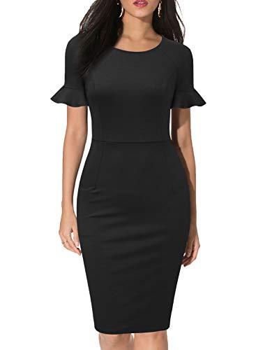 WOOSEA Women's Elegant Round Neck Ruffle Short Sleeves Work Business Office Sheath Dress Black