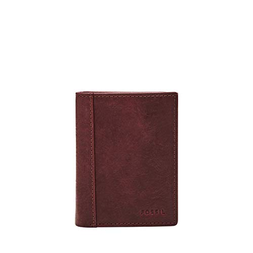 Fossil Men's Neel Trifold Black Cherry, Wine, 3.25