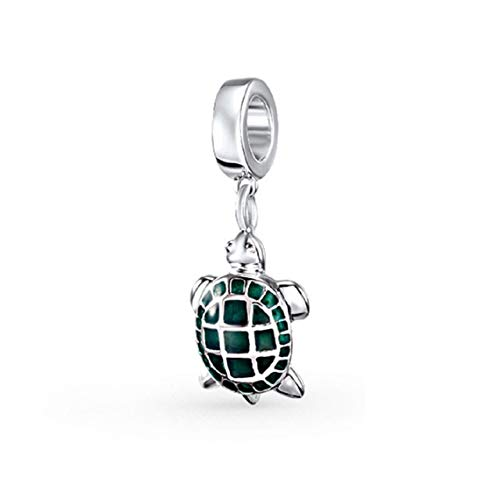 EVESCITY 925 Real Silver Gold Beads for Charm Bracelets ♥ Best Jewelry Gifts for Mothers Day ♥ (Turtle Animal Tortoise Green Enamel) (Enamel Tortoise Charm)