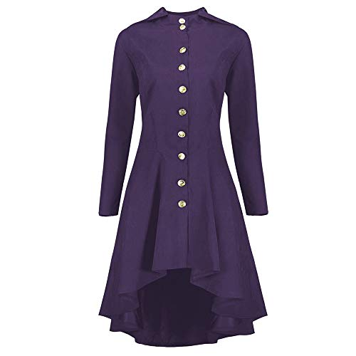 AOJIAN Women Jacket Long Sleeve Outwear Steampunk Hooded Lace Up Back Button Solid Coat Purple