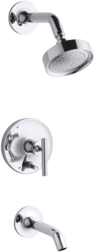 (KOHLER K-T14420-4E-CP Purist Rite-Temp Pressure-Balancing Bath and Shower Faucet Trim, Valve Not Included, Polished)