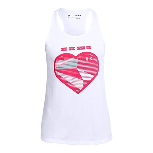 Under Armour Tech Sleeveless Tee - Under Armour Girls' Play Your Heart Out Tank, White//Penta Pink, Youth X-Small