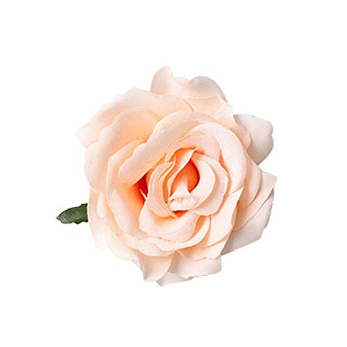Women Girls Bridal Rose Flower Hair Clip Hairpin Headwear Brooch Wedding Party Floral Styling Tool Metal Accessory Champagne