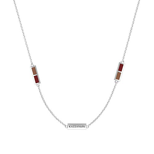 Bixler Assassin 's Creed Odyssey Kassandra Engraved Triple Station Necklace in Light Brown and Dark Red (Ac Creed Necklace)