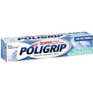 Super Poligrip Ultra Fresh Denture Adhesive Cream-2.4 oz (Quantity of 3) by Super Poli-Grip ()