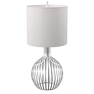 Collective Design L38927ADSAM, Silver Finish, White Hardback Fabric Shade Table Lamp