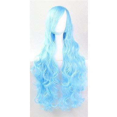 venta mundialmente famosa en línea Xinsushp Home El Nuevo Cable de Alta Alta Alta Temperatura Europeo y Americano, Sky azul Long Hair Wig80CM  compras de moda online