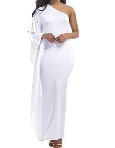 La Couleur Pure De Confortables Femmes Ébouriffé Mince Élégante Robe De Cocktail Oblique Blanc