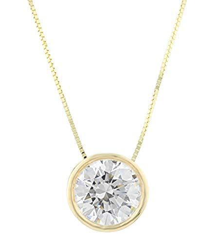 Solid 14k White or Yellow Gold Bezel-Set Swarovski Zirconia Pendant Necklace Made with Swarovski CZ, 18