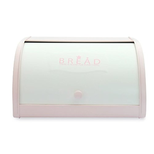 HARRA HOME Bread Box For Kitchen Counter, Bread Bin Storage Container For Loaves, Pastries, and More, (12 x 9.5 x 6.5)Inch (Pink)
