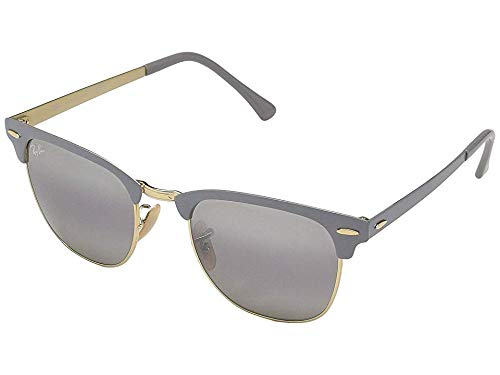 Ray-Ban RB3716 Clubmaster Metal Square Sunglasses, Matte Grey on Gold/Grey Gradient Mirror, 51 ()