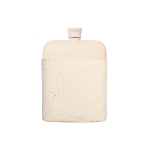 Izola 6 oz Stainless Steel Rectangle Flask - 6 oz - Cream