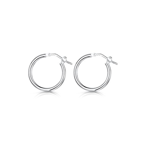 Bharatnatyam Costume (Amberta 925 Sterling Silver Fine Circle Hinged Hoops - Round Creole Sleeper Earrings Diameter Size: 7 10 15 20 25 35 45 55 mm (15mm))
