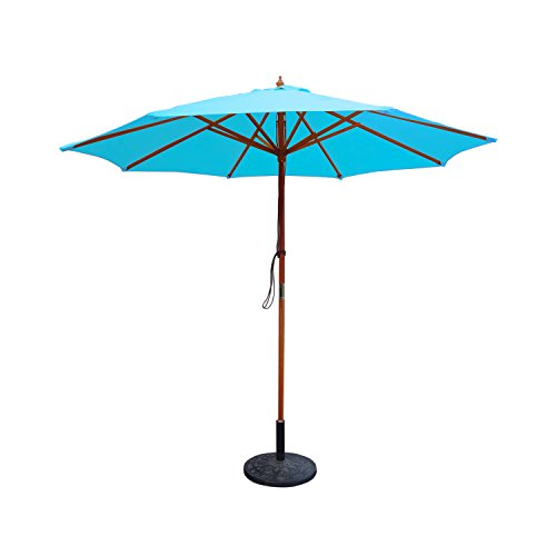 9ft. Wood Market Umbrella - Turquoise