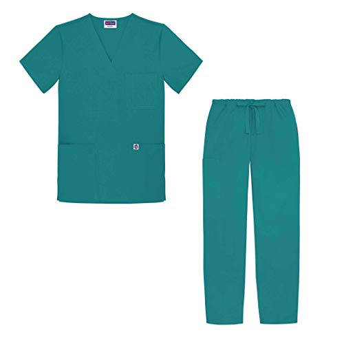 (Sivvan Unisex Classic Scrub Set V-neck Top / Drawstring Pants (Available in 12 Solid Colors) - S8400 - Teal Blue - 5X )